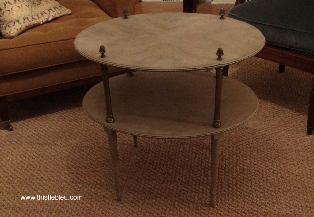 Two Tier Occasional Table in French Linen Wash with Bronze finish over Brass Fittings
